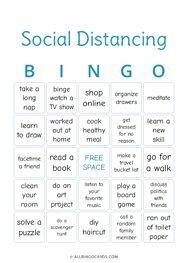 Social Distancing Bingo