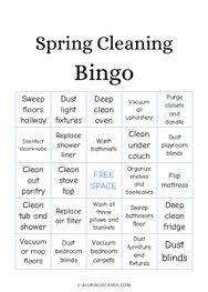 Spring Cleaning Bingo
