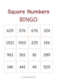 Square Numbers Bingo