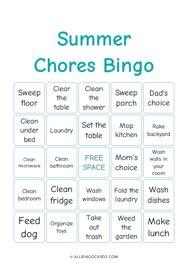 Summer Chores Bingo
