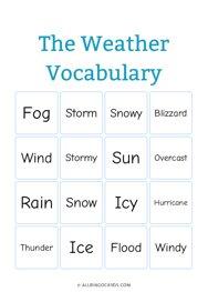The Weather Vocabulary Bingo