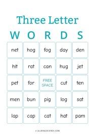 Three Letter Words Bingo