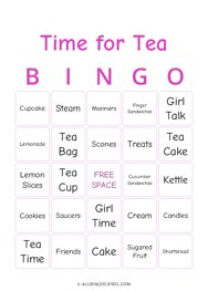 Time for Tea Bingo