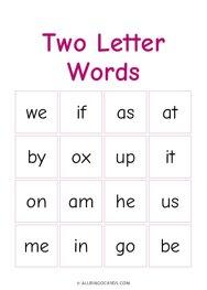 Two Letter Words Bingo